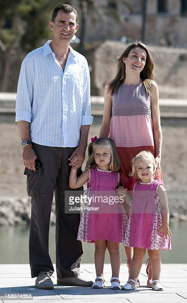 Crown Prince Felipe And Crown Princess Letizia Of Spain With Their Daughters Infanta Leonor And Infanta Sofia Attend A Photocall At Parc De La Mer In...