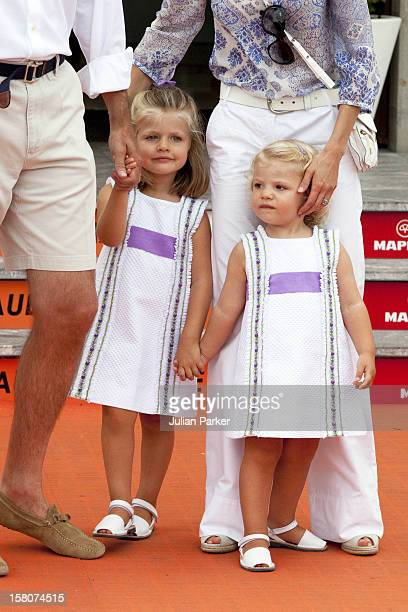 Crown Prince Felipe And Crown Princess Letizia Of Spain With Their Daughters Infanta Leonor And Infanta Sofia At The Royal Yacht Club Palma Mallorca...
