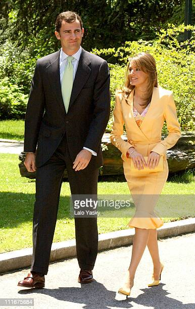 Crown Prince Felipe and Letizia Ortiz during Crown Prince Felipe and Fiance Letizia Ortiz Received by Spanish Prime Minister Jose Luis Rodriguez...