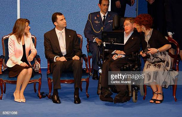 Crown Prince Felipe and Princes Letizia attend Stephen Hawking's conference at the Prince of Asturias Auditorium on April 12 2005 in Oviedo Asturias...