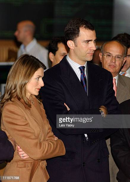 Crown Prince Felipe and Princess Letizia during Crown Prince Felipe and Princess Letizia Visit Ongoing Engineering Works on the Madrid Subway at...