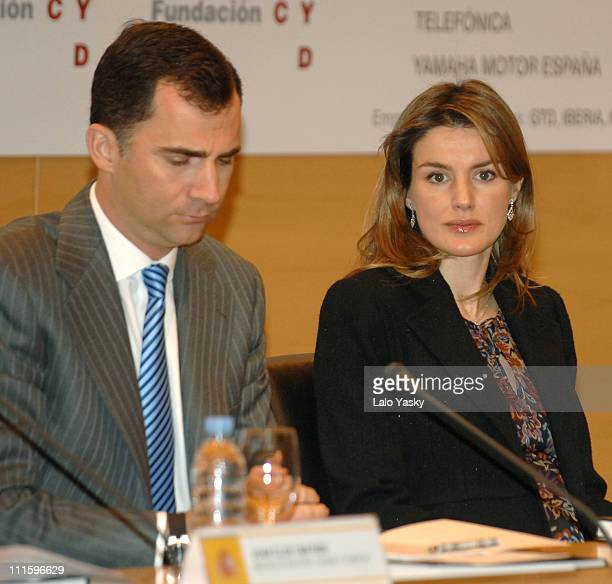 Crown Prince Felipe and Princess Letizia during Crown Prince Felipe and Princess Letizia at 'University and Development' Annual Meeting January 23...