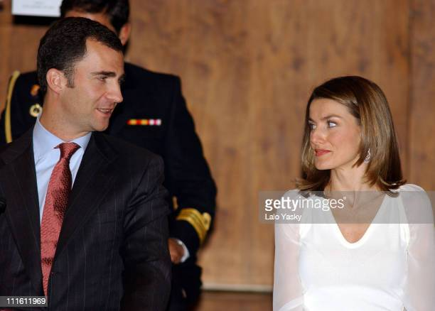 Crown Prince Felipe and Princess Letizia during Crown Prince Felipe and Princess Letizia Preside the 2004 BMW Painting Award Ceremony at Auditorio...