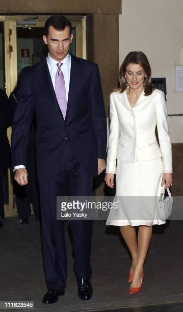 Crown Prince Felipe and Princess Letizia during Crown Prince Felipe and Princess Letizia at Spanish Trademarks Ambassadors Ceremony January 10 2005...