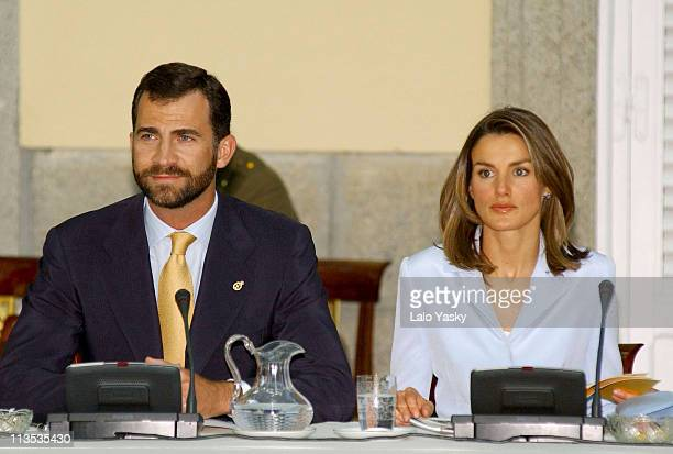 Crown Prince Felipe and Princess Letizia during Crown Prince Felipe and Princess Letizia Preside over 'Prince of Asturias Foundation' Meeting June 30...