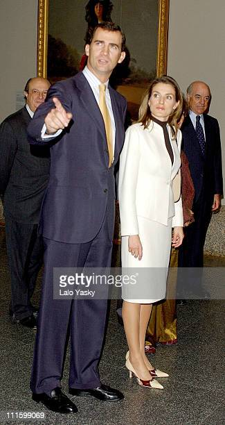 Crown Prince Felipe and Princess Letizia during HRH Crown Prince Felipe and Letizia Visit Opening of the Exhibition 'The Spanish Portrait' at El...