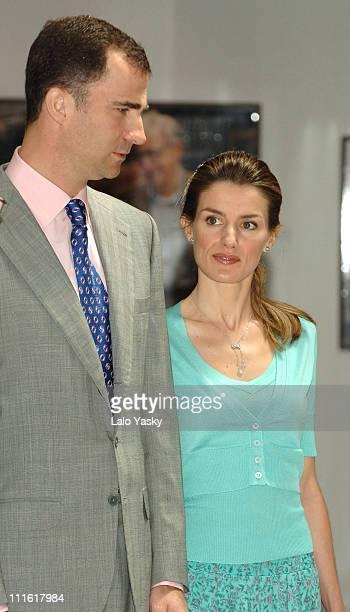 Crown Prince Felipe and Princess Letizia during Prince Felipe and Princess Letizia at Photo Exhibition '25 Years of the Prince of Asturias Awards'...