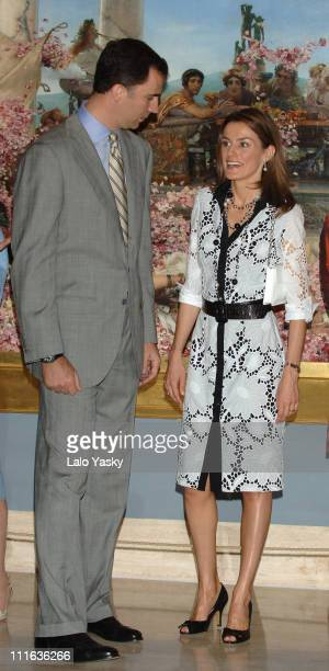 Crown Prince Felipe and Princess Letizia during Royal Opening of 'De Cranach A Monet' Exhibition at Thyssen Bornemizza Museum in Madrid Spain