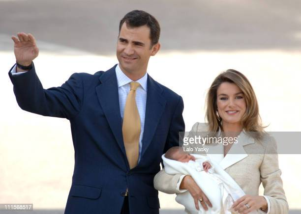 Crown Prince Felipe and Princess Letizia leave Ruber International Medical Center in Madrid Spain with their daughter Princess Leonor Princess Leonor...