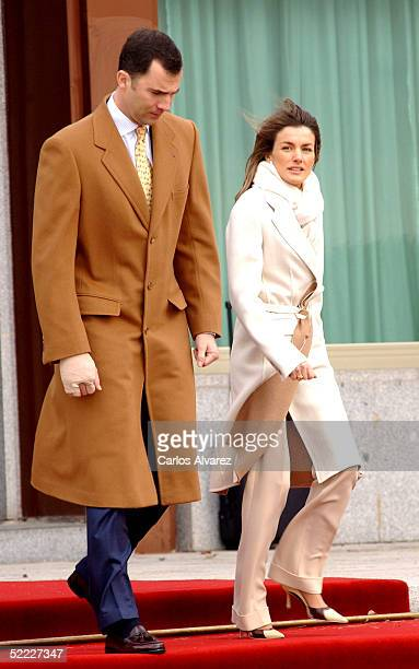 Crown Prince Felipe and Princess Letizia make their official departure for a six day visit to Brazil at Barajas Airport in Madrid February 22 2005 in...