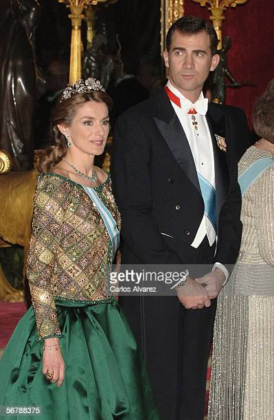 Crown Prince Felipe and Princess Letizia of Spain attend an official dinner in honour of Russian President Vladimir Putin at the Royal Palace on...