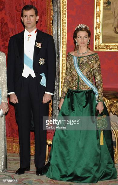 Crown Prince Felipe and Princess Letizia of Spain attend an official dinner in honour of Russian President Vladimir Putin at the Royal Palace, on...