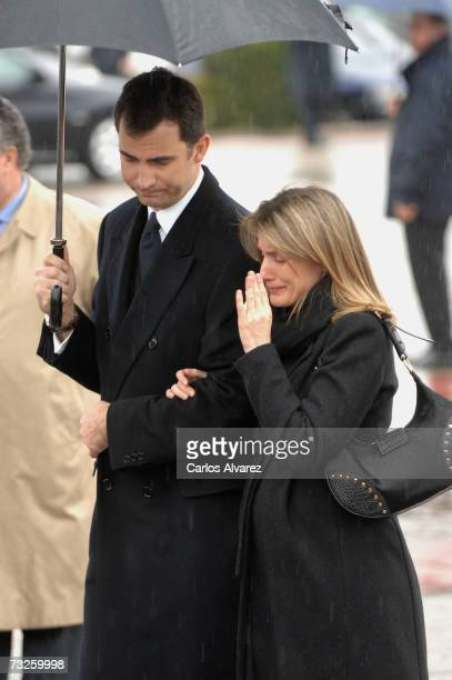 Crown Prince Felipe and Princess Letizia of Spain attend the funeral for Erika Ortiz younger sister of Princess Letiza on February 08 2007 at La Paz...