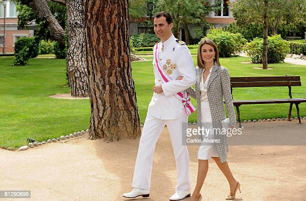 Crown Prince Felipe and Princess Letizia of Spain receive Members of Royal and Military Orders at the Zarzuela Palace on May 30, 2008 in Madrid,...