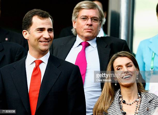 Crown Prince Felipe and Princess Letizia of Spain smile prior to the FIFA World Cup Germany 2006 Round of 16 match between Spain and France played at...