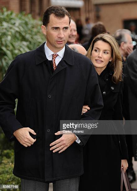 Crown Prince Felipe and Princess Letizia of Spain visit a student residence on 01 December 2008 in Madrid Spain