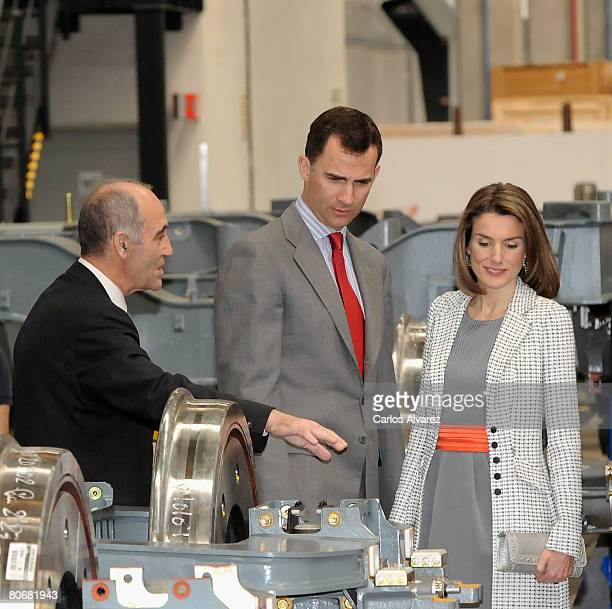 Crown Prince Felipe and Princess Letizia of Spain visit Talgo Trains Factory on April 15 2008 in Las Matas near of Madrid