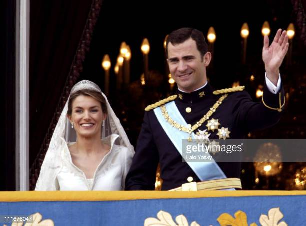 Crown Prince Felipe and Princess Letizia Ortiz during Royal Wedding Between Prince Felipe of Spain and Letiza Ortiz at Alumudena Cathedral in Madrid...
