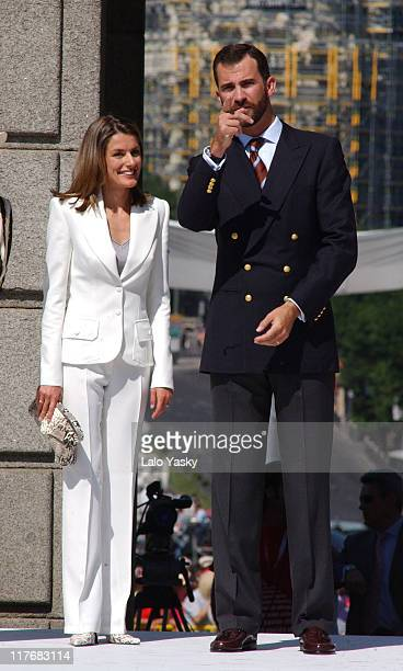 Crown Prince Felipe and Princess Letizia Princes Of Asturias During 2004 Olympic Torch Relay