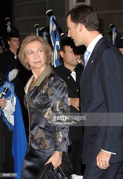 Crown Prince Felipe and Queen Sofia Of Spain attend the Prince Of Asturias Awards Ceremony on October 21 2005 at Campoamor Theatre in Oviedo Spain