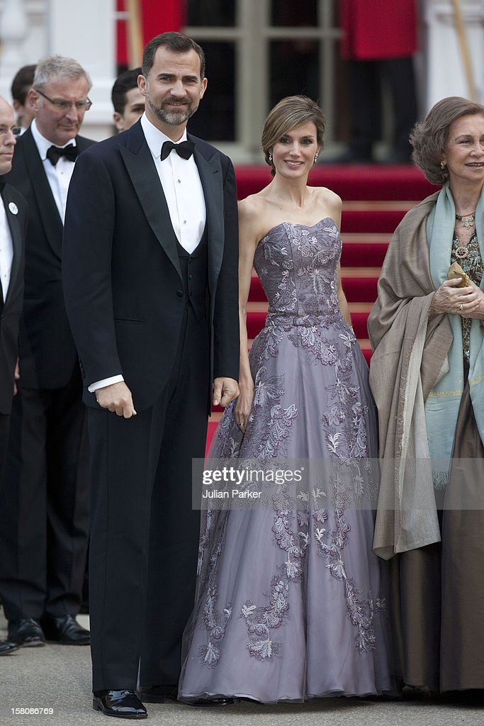 Crown Prince Felipe, Crown Princess Letizia And Queen Sofia Of Spain Attend A Pre Wedding Party, On The Eve Of Prince Williams Wedding To Kate Middleton, At The Mandarin Oriental Hotel In Central London.