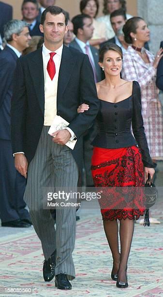 Crown Prince Felipe Crown Princess Letizia Attend The Wedding Of Beltran GomezAcedo Y De Borbon Laura Ponte Martinez At La Granja De San Ildefonso...