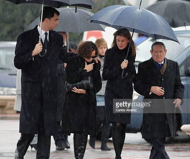 Crown Prince Felipe Letizias mother Paloma Rocasolano Princess Letizia and her grandfather Francisco Rocasolano attend the funeral for Erika Ortiz...