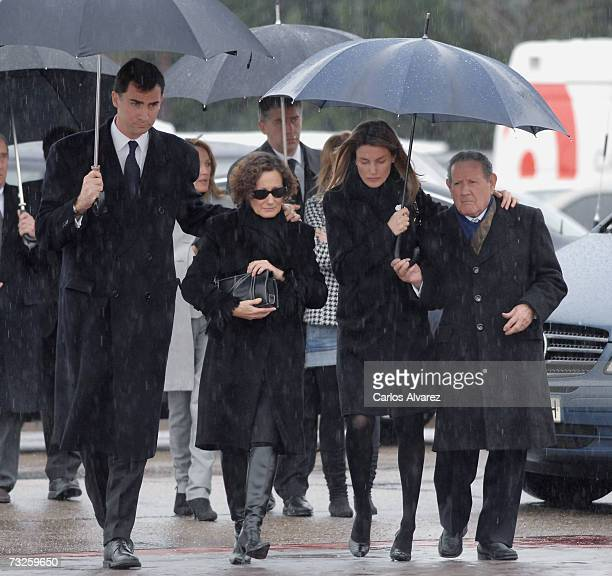 Crown Prince Felipe Letizias mother Paloma Rocasolano Princess Letizia and her grandfather Francisco Rocasolano attend the funeral for Erika Ortiz...