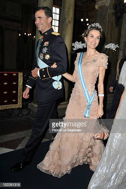Crown Prince Felipe of Spain and Crown Princess Letizia of Spain attend the Wedding Banquet for Crown Princess Victoria of Sweden and her husband...