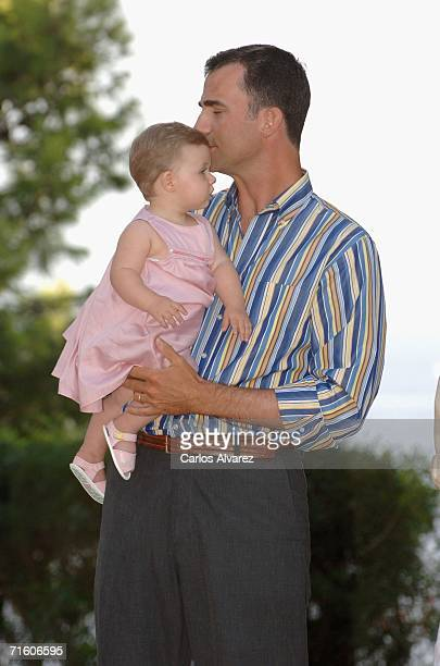 Crown Prince Felipe of Spain and his daughter Princess Leonor attend a photocall during their summer holidays at Marivent Palace on August 08, 2006...