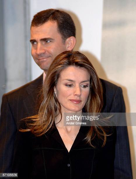 Crown Prince Felipe of Spain and his wife Princess Letizia of Spain attend the inauguration of the new building of the 'Gipuzkoa Chamber of Comerce'...