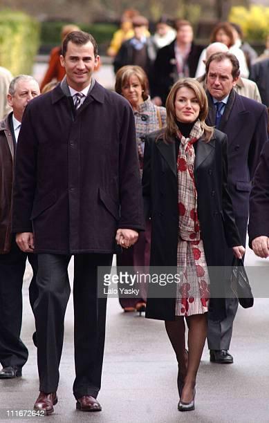 Crown Prince Felipe of Spain and Letizia Ortiz during Crown Prince Felipe Of Spain Visits Covadonga Monastery at Covadonga Monastery in Covadonga...