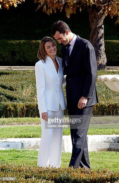 Crown Prince Felipe of Spain and Letizia Ortiz pose during an official engagement ceremony at the garden of El Pardo Palace November 6, 2003 at...