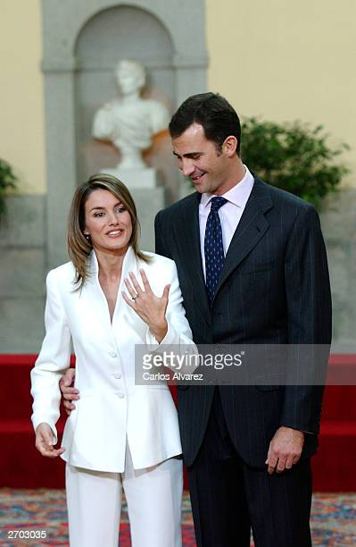 Crown Prince Felipe of Spain and Letizia Ortiz pose during an official engagement ceremony at the garden of El Pardo Palace November 6 2003 at...