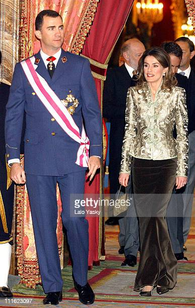 Crown Prince Felipe of Spain and Princess Letizia during The Spanish Royal Family Attend the Traditional Militar Pasques Celebrations at The Royal...