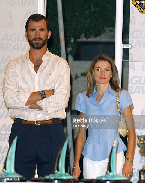 Crown Prince Felipe of Spain and Princess Letizia of Asturias attend the Copa del Rey Awards Ceremony at the Club Nautico in Palma de Mallorca