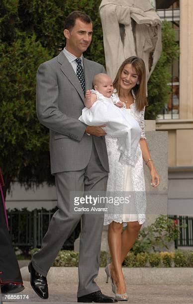 Crown Prince Felipe of Spain and Princess Letizia of Spain present Princess Sofia to the Virgen of Nuestra Senora de Atocha on September 19, 2007 in...