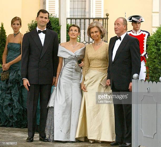 Crown Prince Felipe of Spain his Fiancee Letizia Ortiz Queen Sofia and King Juan Carlos of Spain