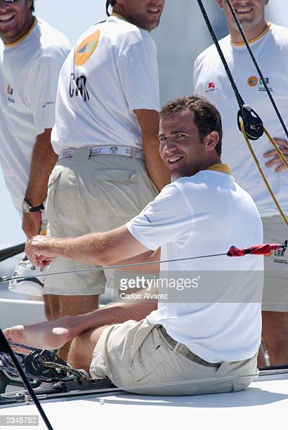 Crown Prince Felipe of Spain is seen during the third day of 22 Edition of Sailing Trophy Copa del Rey on July 30 2003 at the Club Nautico in Palma...