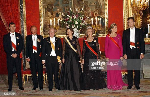 Crown Prince Felipe of Spain King Juan Carlos German President Johannes Rau and wife Christina Rau Queen Sofia and Princess Cristina with husband...