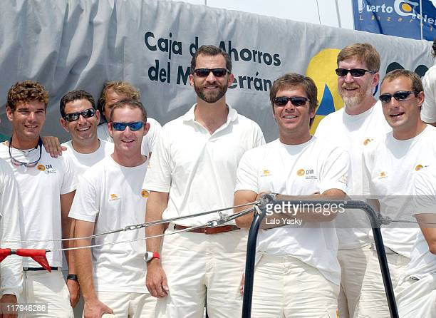 Crown Prince Felipe of Spain onboard the CAM during the first day of the Copa del Rey Sailing Trophy