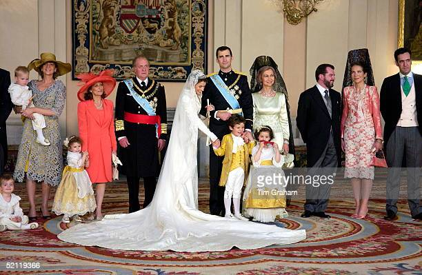 Crown Prince Felipe Of Spain Prince Of The Asturias With His Bride Crown Princess Letizia In The Royal Palace After Their Wedding With Bridesmaids...