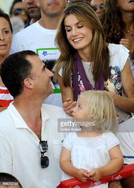 Crown Prince Felipe of Spain Princess Letizia of Spain and their daughter Sofia attend Jaume Angladas pop concert during the third day of 28th Copa...