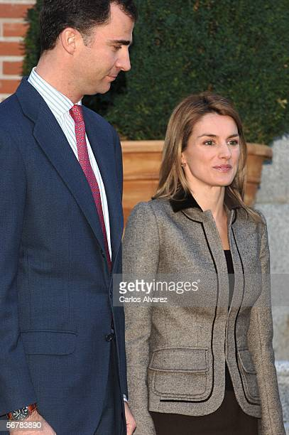 Crown Prince Felipe of Spain Princess Letizia of Spain share a moment as Russian President Vladimir Putin and his wife Ludmila Putin are received by...