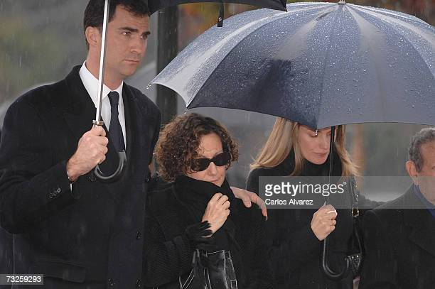 Crown Prince Felipe Paloma Rocasolano and Princess Letizia of Spain attend the funeral for Erika Ortiz younger sister of Princess Letiza on February...