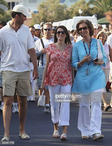 Crown Prince Felipe Princess Letizia and Queen Sofia of Spain attend the prize giving ceremony of The Breitling Sailing Cup on July 24 2005 in Palma...