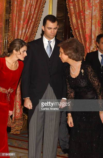 Crown Prince Felipe Princess Letizia and Queen Sofia receive Foreign Ambassadors at the Royal Palace on January 13 2005 in Madrid Spain