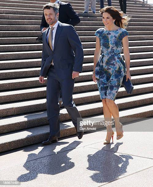 Crown Prince Frederick and Crown Princess Mary of Denmark arrive on the Opera House forecourt on October 24 2013 in Sydney Australia Prince Frederick...