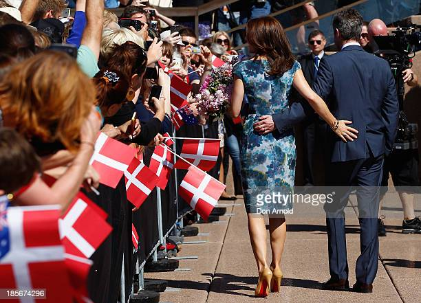 Crown Prince Frederick and Crown Princess Mary of Denmark meet school children on the Opera House forecourt on October 24 2013 in Sydney Australia...