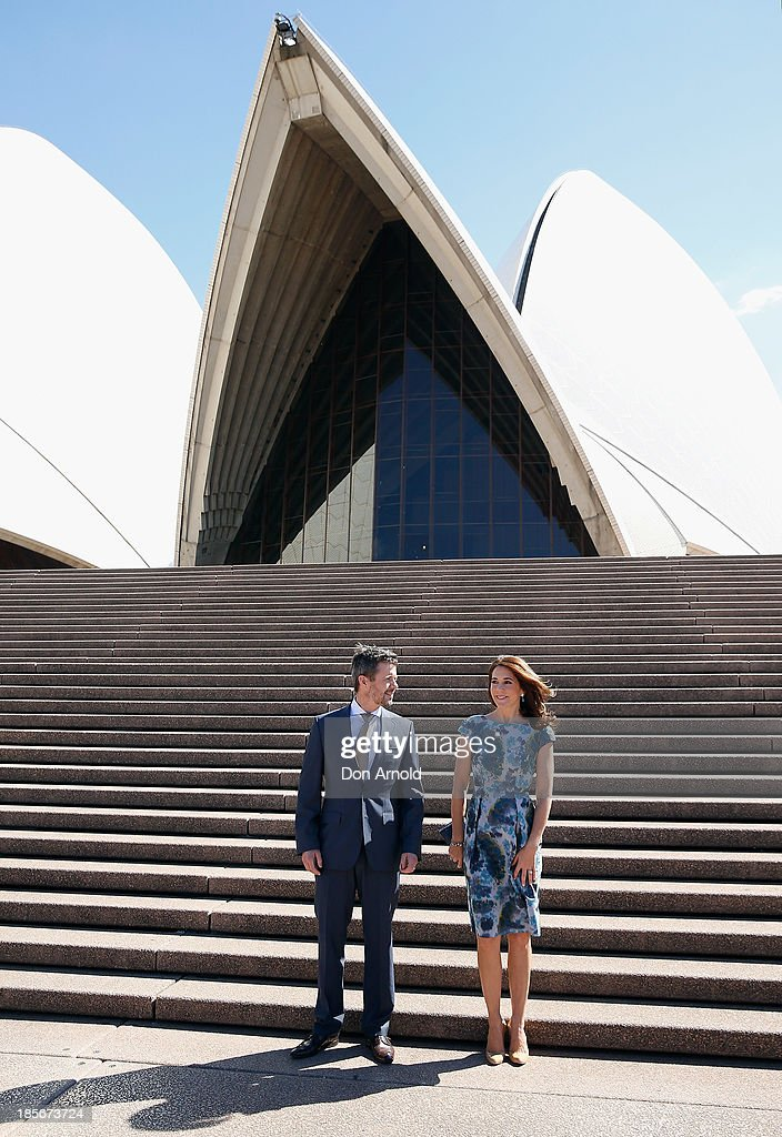 Crown Prince Frederick and Crown Princess Mary of Denmark pose on the Opera House forecourt on October 24, 2013 in Sydney, Australia. Prince Frederick and Princess Mary will visit Sydney for five days and will attend events to celebrate the 40th anniversary of the Sydney Opera House and the Danish architect who designed the landmark, Jorn Utzen.